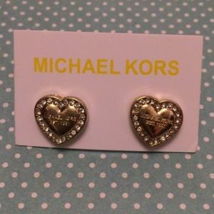 Micheal Kors gold pave heart earrings